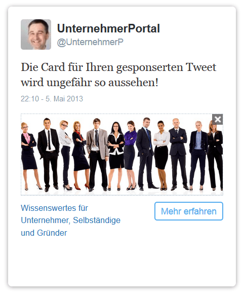 Website-Card für den Einsatz auf Twitter