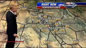 Wettermann verkündet Hitze bei ca 1000 Grad